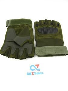 Military Airsoft 1/2 Half Finger Tactical Hard Knuckle Fingerless Glove (L) NWOT