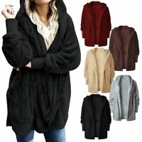 Women Winter Fuzzy Fluffy Coat Fleece Fur Jacket Outerwear Hoodies w/Pocket Plus