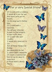 For a Very Special Friend, A5 Card, Thinking of you, Catch a Rainbow Verse