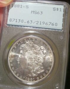 1881 S Morgan silver dollar - PCGS MS 63, Old Rattler, Gold Peripheral Tone 1793