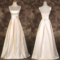 LADIES Vintage Long Evening Cocktail Dress Prom Satin Bridesmaid Formal Wedding