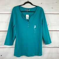 Karen Scott Plus Size Cotton Split Neck 3/4 Sleeve Henley Womens 0X Teal Top New