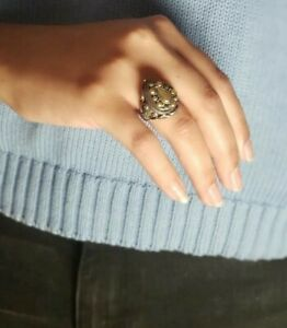 Silver & 14k Gold Accent Locket Ring Poison Pillbox Hidden Secret Compartment.
