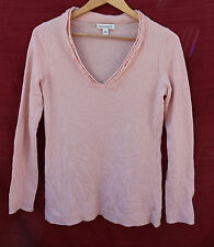 BANANA REPUBLIC Small pink 100% CASHMERE v-neck pull-over sweater