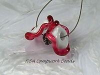 ROA Lampwork 2 White & Fuschia Ruffle Handmade USA Disc Art Glass Beads SRA
