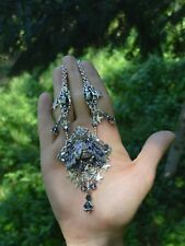 Silver purple insect necklace cicada Swarovski crystal scarab pastel goth witch