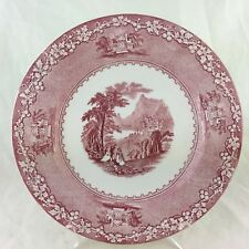 ANTIQUE ROYAL STAFFORDSHIRE JENNY LIND RED TRANSFERWARE PLATE CASTLE SCENE