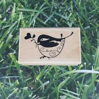 Inkadinkado Bird Holding Branch Rubber Stamp Sparrow Wooden Mounted