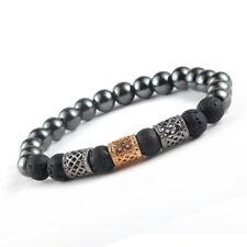 Men's Black Lava&Hematite Stone Beaded Gold Plated Charm Bead Healing Bracelet