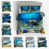 3D Sea Turtle Animal Kids Bedding Set Ocean Duvet Cover Pillowcase Quilt Cover