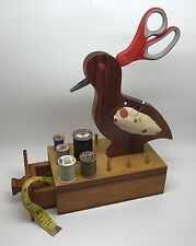 Handmade Tramp Art Bird Pin Cushion, Scissors Holder & Sewing Box (Rf667)