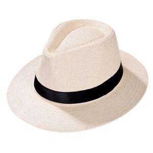 Women Men Fedora Trilby Gangster Hat Summer Beach Sun Straw Panama Cap Bow