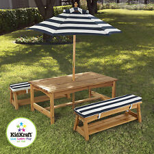 Kidkraft Outdoor Table and Bench Set Incl Cushions Umbrella Blue 00106