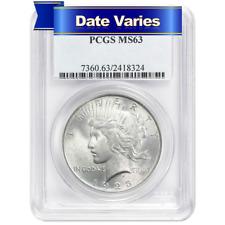 1922 to 1935 $1 Silver Peace Dollar PCGS MS63 Random Year
