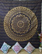 Indian Queen Size Tapestry Wall Hanging Cotton Fabric Bedspread Mandala Flower