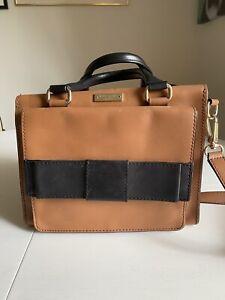 Vintage Kate Spade Bow Top Handle Shoulder Bag Tan Brown & Black Gold Hardware