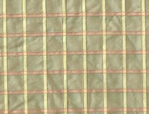 "Custom Made Full Plaid Taffeta Bedskirt Green Gold 14"" Drop Excellent Quality"
