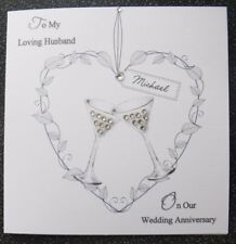 HANDMADE PERSONALISED  WEDDING ANNIVERSARY CARD,LEAFY HEART HUSBAND/WIFE/OUR