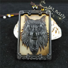Chinese Hand Carving Ox Horn Men's Pendant Necklace Lucky Wolf Amulet A206