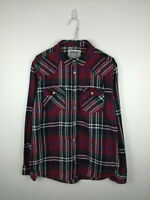 VINTAGE MENS FLANNEL SHIRT URBAN PIPELINE SIZE M DARK RED CHECK LONG SLEEVE TOP