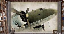 Old Douglas DC3 Airplane 12' x 8' (3,66m x 2,44m)-Wall Mural