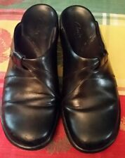 Women's Clarks Size 7M Black Leather Slip On Shoes Slides Mules Loafers