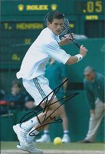 Tim HENMAN Signed 12x8 Autograph Photo AFTAL COA Wimbledon Tennis ATP RARE