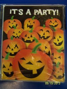 Pumpkin Tricks Jack O' Lantern Halloween Holiday Party Invitations w/Envelopes