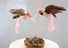 Pink Hummingbird Wedding Cake Topper: Unique, Rustic Bride & Groom Love Birds