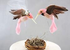 Pink Hummingbird Wedding Cake Topper: Unique, Rustic Bride & Groom Love Birds