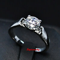 18k White Gold Plated Made with Solitaire Swarovski Crystal Engagement Ring R108