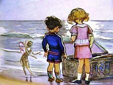J.H. Dowd FAIRY w GIRL & BOY & TREASURE CHEST on BEACH 1937 Vintage Art Matted