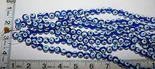 3 Strand lot Larger Glass Evil Eye Beads Blue & White Color.