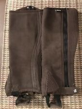 LOVESON HORSE RIDING HALF CHAPS - SUEDE - BROWN - LARGE - NEVER USED - FUR LINED