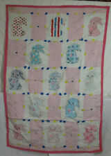 "Handmade Tied Quilt - 33""x47"" - Applique Embroidered Bunnies - Cutter"