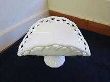 Rare Vintage White Colony Lace Glass Pedestal Fruit Cake Plate Stand Wedding
