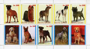 Sierra Leone Dogs Stamps 1998 MNH German Shepherd Golden Retriever Dog 10v M/S