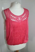Ladies Pink Crochet Button Sleeveless Top Size 16 Summer Holiday Wear
