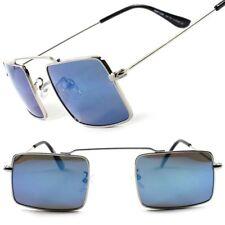 Classic Vintage Goth Steam-Punk Blue Colorful Mirror Lens Rectangle Sunglasses