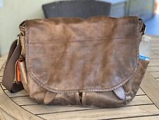 Distressed Cole Haan Brown Leather Messenger Computer School Bag Orange Lining