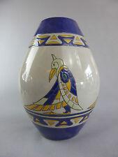 GRAND VASE STYLE ART DECO EMAUX OISEAUX AZTEC QUETZAL COATL MEXICAN BIRD 509-2