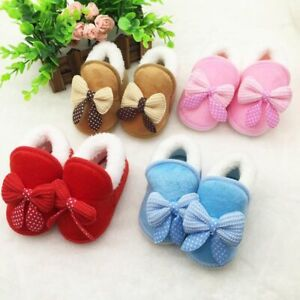 Baby Boy Girl Winter Warm Slippers Non Slip Snow Boots Crib Casual Soft Shoes