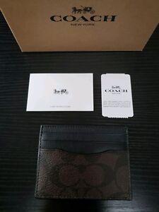Authentic COACH CC Signature Men Card Case/Card Holder, Brown