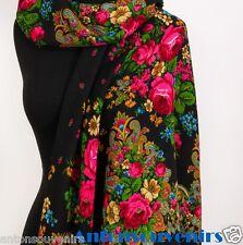 Russian, Authentic, Original, Pavlovo Posad Shawl, Scarf 100% Wool (Wool Fringe)
