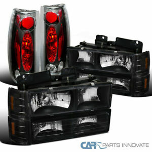 94-98 GMC C10 1500 Black Headlights+Bumper Corner Lights+Rear Tail Brake Lamps