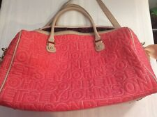 Betsy Johnson Super Duffle Overnight Tote Bag Coral & Tan Stitched Design