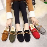 Womens Casual Fur Moccasins Suede Loafer Slip On Shoes Indoor Outdoor Slipper