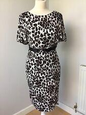 Karen Millen Leopard Print Belted Dress Uk 8 Party Christmas
