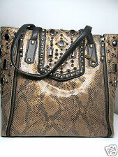 Mary Frances Gold Rush Snake Metallic Gold Black Beaded Large Tote Handbag New