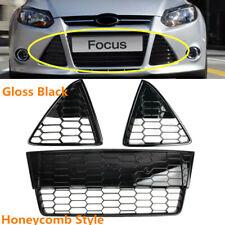 Fit For Ford Focus 2012-2014 Front Bumper Grilles Set Honeycomb Black Grill Mesh